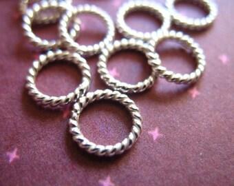 10 25 50 pcs, 925 Sterling Silver Jumprings Jump Rings Bulk, 7 mm, Twisted Closed, 18 gauge, wholesale findings SJR7mm.18 hp tjr67.s