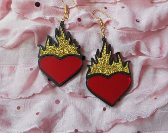 Multi-color HEART ON FIRE Earrings With Mirror Red, Black and Gold Glitter Acrylic -- Plastic Earrings with Gold Earring Hooks // Ear Wire