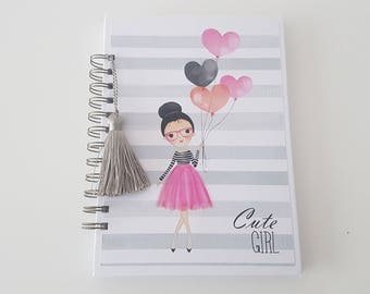 Planner. Cute Girl Collection. Girl. Handmade. Scrapbooking.