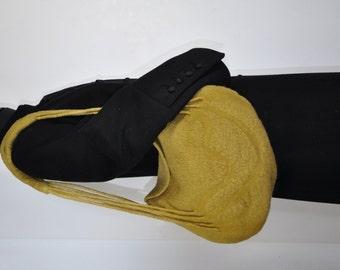 Feltro Bag, borsa a tracolla, verde oliva, lana Merino, lana infeltrita