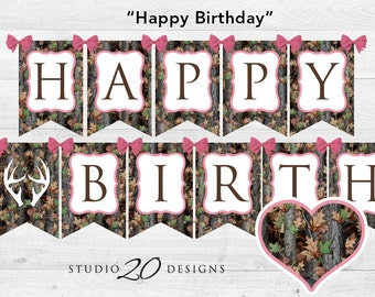 camo rag banner camo birthday banner camo party garland