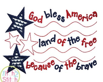 God Bless America Applique Design For Machine Embroidery INSTANT DOWNLOAD now available