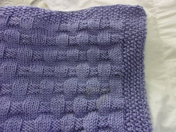 Hand knit Baby Blanket Basket Weave Pattern lavender blue