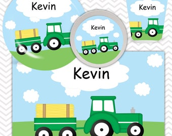 Tractor Plate, Bowl, Cup, Placemat - Personalized Tractor Dinnerware for Kids - Custom Tableware