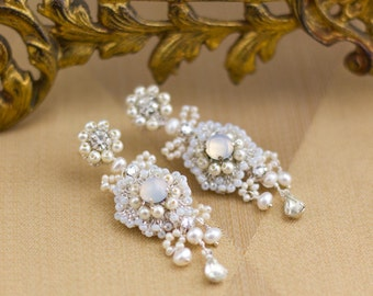 "As Seen on Reign | Opal Pearl Bridal Chandelier Earrings |  | Handcrafted Lace Bridal Jewelry | Spring Summer Wedding ""Flora"""