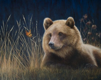 Monarchs - Grizzly Bear and Butterfly - Limited Edition of 95 Signed and Numbered Giclee Print