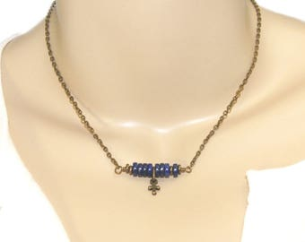 Tiny Lapis Beaded Bar Necklace in Brass with Tiny Cross, Christian Confirmation Gift