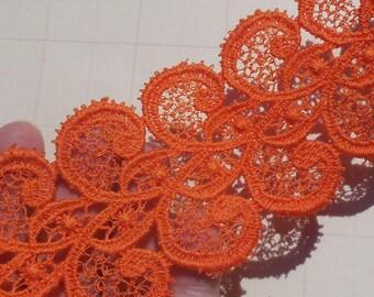 Vintage Lace Trim Venice Lace Cotton Lace Orange