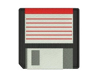"3.8"" Retro 80s computer floppy disk Embroidered Iron on patch"