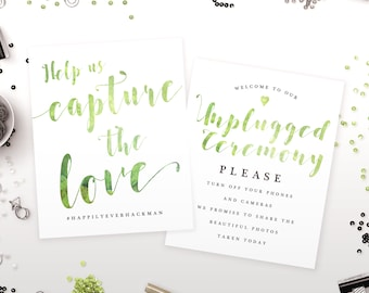 Custom Wedding Sign - Greenery Wedding Sign - Wedding Decoration - Reception Sign - 8 by 10 - DIY Print at Home Options Available