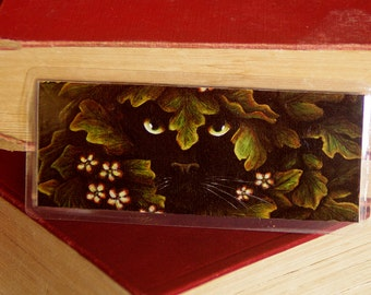 Nature Cat Bookmark, Black Cat Greenman Face Leaves Paper Bookmark