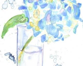 Hydrangea Flower Art - Watercolor Painting - Still Life - Blue Hydrangea Flower Watercolor Art Print, 5x7