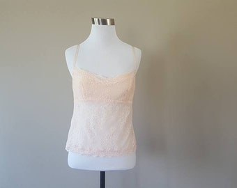 M / Pink Camisole / Lacy / Stretchy / Medium