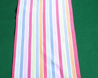Vintage cotton colorful table runner with stripes and tassels