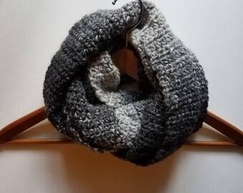 Women's Infinity Scarf, Women's Scarf, Crochet Scarf, Wool-Blend Scarf, Gray Infinity Winter Scarf, Fall Scarf