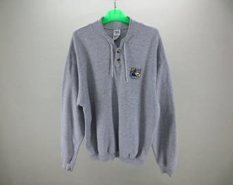 Sharka Surf Co. Hawaii Sweater Gray Button Vintage Pullover Men's Size S