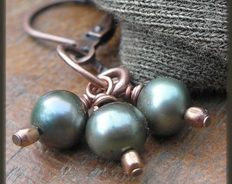 FREE SHIPPING off all items in my shop, Triple moss pearl and copper earrings
