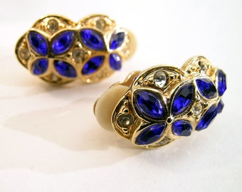 Vintage Rhinestone Clip Earrings Glam Blue Rhinestone