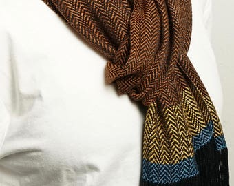 Handwoven Fringe Scarf in Rust and Pitch with Teal and Goldenrod