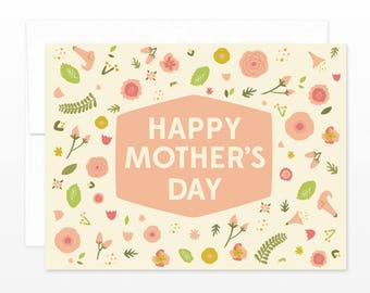 Pretty Mother's Day Spring Flowers Greeting Card, Floral Mother's Day Card, Pink Mother's Day Card, Card for Mom, Spring Card