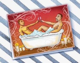 A BUBBLY TOAST- gay card