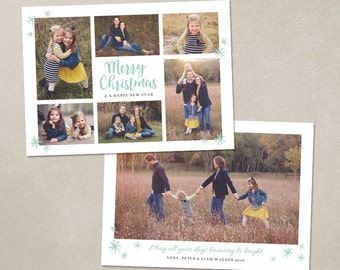 Christmas Card Template -  Photoshop template 5x7 flat card - Mint Collage CC118 - INSTANT DOWNLOAD