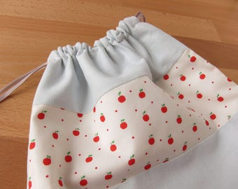 Apples and Linen Drawstring Project Bag