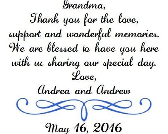 Weddings Grandmother of the Bride Wedding Handkerchief - Thank you for your love - Mom - Bridal -Hankie - Hanky