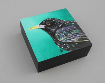 Starling painting - speckled black bird painting - European Starling art - miniature artwork - small bird art - realistic starling