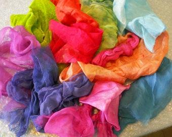 silk fabric scraps, silk scraps, Silk Treasure Bag - Brights, Silk Gauze