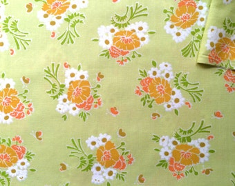Vintage Fabric 70's Floral Cotton, Green, Printed, Material, Textiles by J. Manes Co.