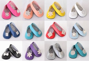 Fits like American Girl Doll Shoes - 20 COLORS, 16 EMBELLISHMENTS, Completely Customized Modern Ballet Flats