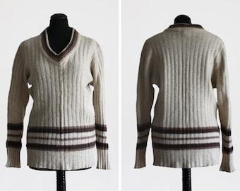 1980s Vintage Beige Shetland Wool V-Neck Jumper