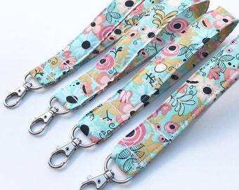 Wristlet Keychain Strap with Lobster Claw Clasp. Spring Flower Print. Ready to Ship
