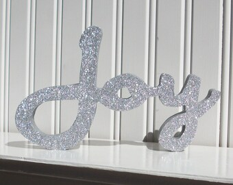 Silver Glitter Joy Letter Sign, Christmas Decoration, Mantle Decoration, Holiday Decoration, Wood Joy Sign