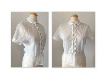 Vintage 50s Sheer Nylon Blouse Dusty Blue M Embroidered Trim VLV