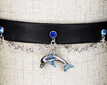 Blue Dolphin Leather Choker