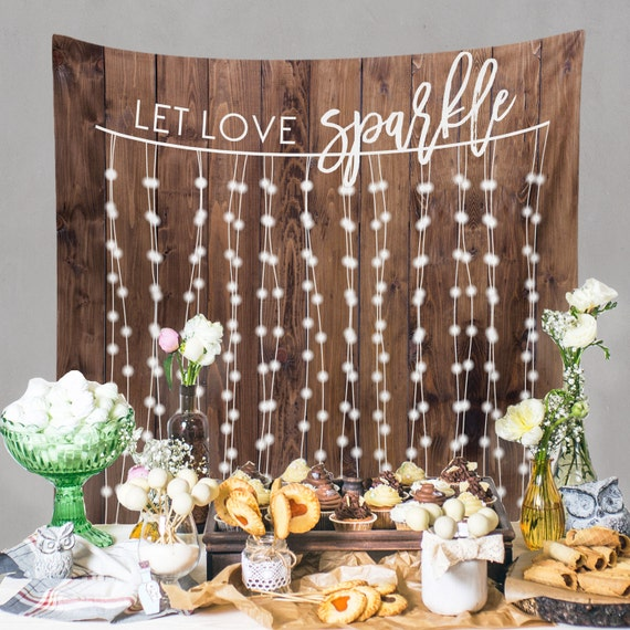 Best Rustic Ideas For Your Wedding: Rustic Wedding Backdrop Custom Tapestry Dessert Table