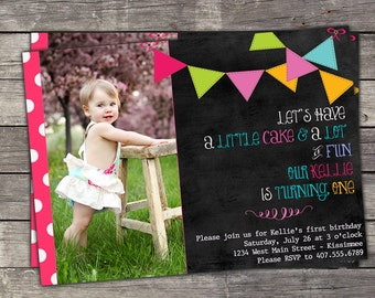 First Birthday Invitation, Chalkboard Birthday Invitation, 1st Birthday Invitation, Pink Polka Dots & Bunting Birthday Invitation