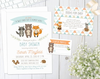 WOODLAND BABY SHOWER Invite | Printed | Baby Boy Shower | Invitation with forest animals, creatures, fox, bear, hedgehog, racoon, rabbit