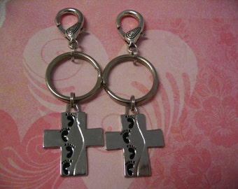 Footprints Key Chain Purse Charms Religious Gift