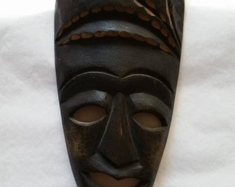Small Vintage Hand Carved Wood African Mask