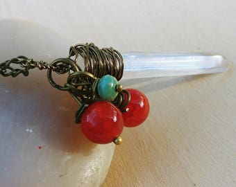 Winter Berry Wand Crystal Necklace