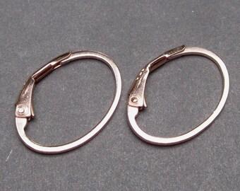 Rose Gold Interchangeable Hoop Earrings, Rose Gold Hoop Earrings, Rose Gold Leverback Earrings, Charm Earrings