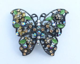 Butterfly brooch rhinestone and enamel on japanned metal AL46