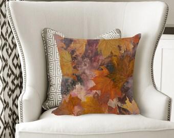 Fall Leaves Decorative Pillow, Soft Velveteen Nature Decor printed from Original Art - multiple sizes
