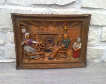 Table decoration wood carved peasant scene