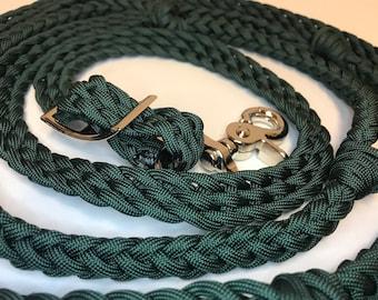Hunter green reins, hunter green barrel reins, horse tack , paracord reins, braided reins, reins with grip knots, barrel racing, horse tack