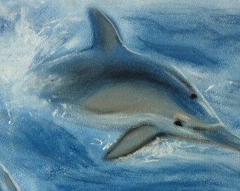 dolphins, original pastel drawing, animal art, animal drawing, dolphin drawing, dolphin painting, pastel painting