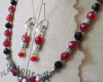 SALE Scarlet O'Hara Crystals Beaded Necklace and Earrings